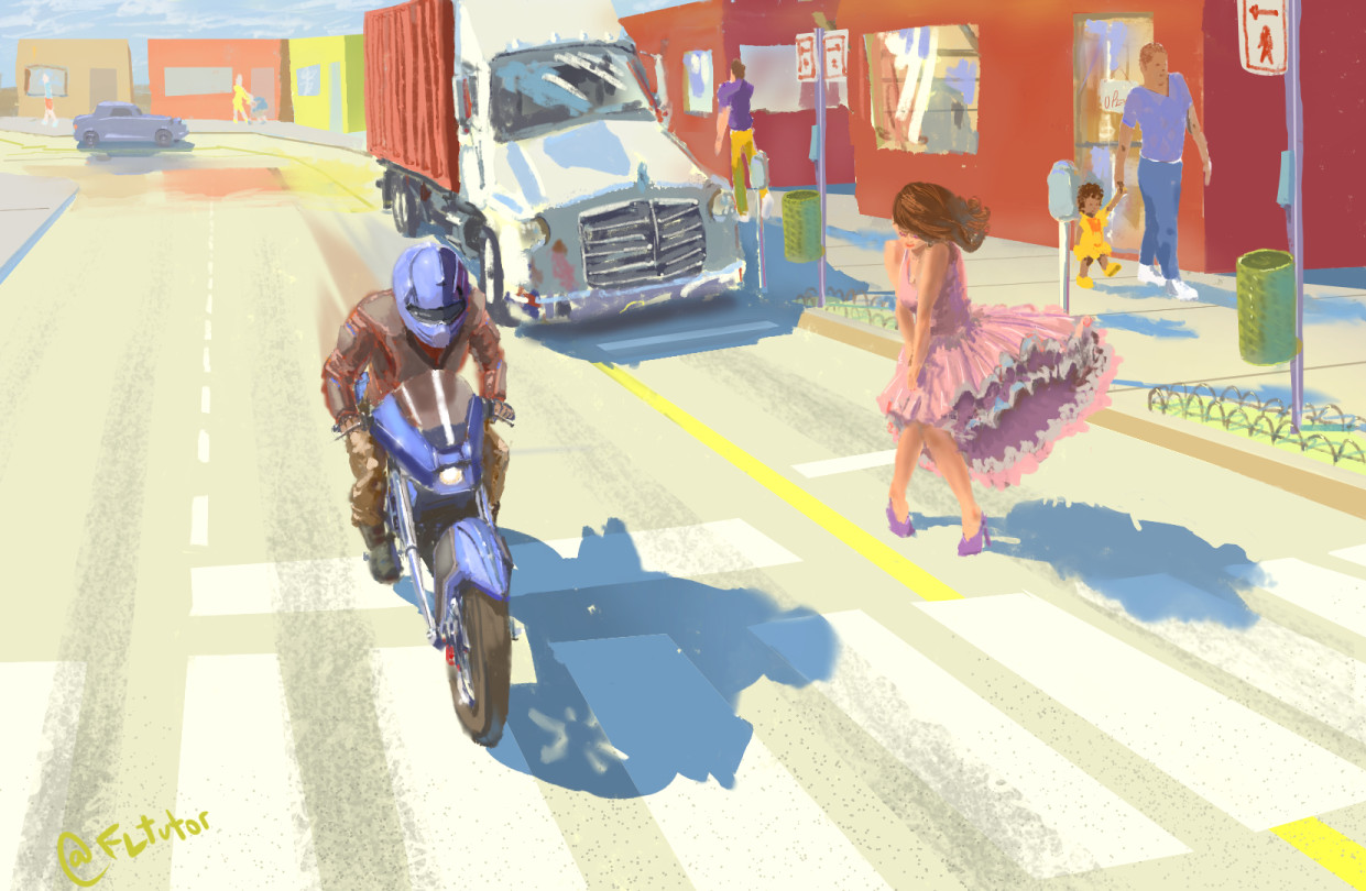 Painting demo from imagination for students. Cutcyscape and man riding motorcycle at high speed.