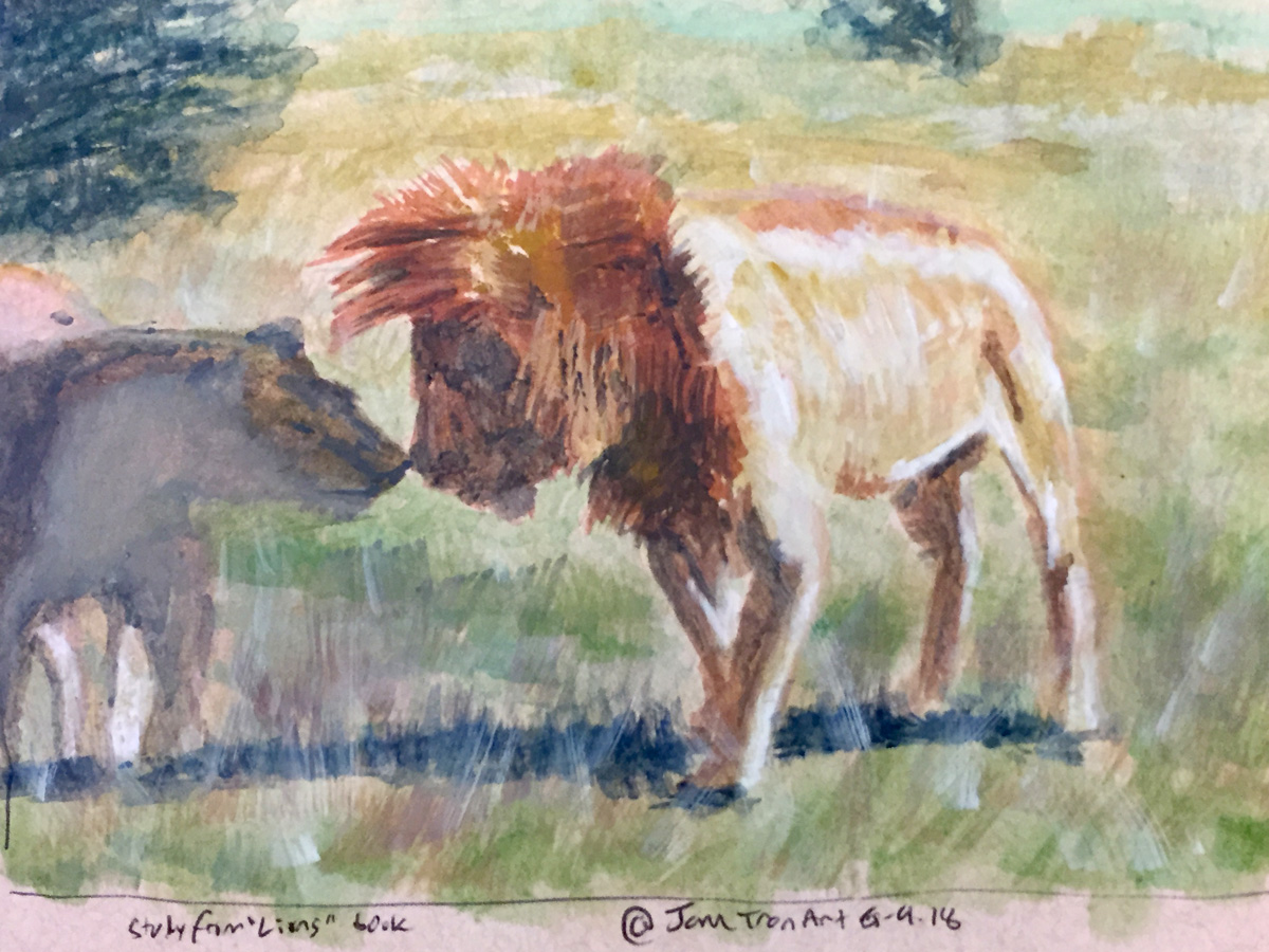 Watercolor study of lions kissing